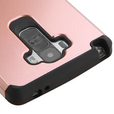 For LG G Stylo, Vista 2 Fusion Hybrid Hard Protective Case Cover Rose Gold Black