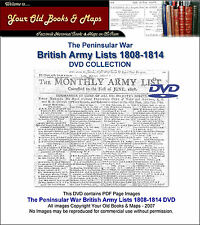 PENINSULAR WAR BRITISH ARMY LISTS 1808-1814 DVD 33 MONTHLY ARMY LISTS