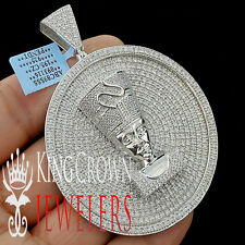 White Gold On Real Silver XL Egyptian Queen Nefertiti Pendant Charm Medallion