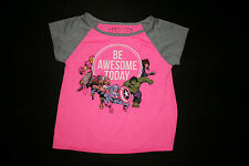 Girls Marvel Comics Pink Be Awesome Today Captain America Iron Man T-Shirt 6/6X