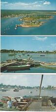 1950's 3 Postcards Cape Porpoise Aerial View Dories & Rowboats Lobster Trap Boat
