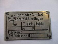 Typenschild Schild LKW AHK Ringfeder Anhängekupplung Anhänger Kupplung s23