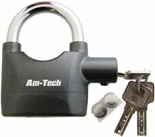 Padlock with InBuilt Alarm Motorbike Shed Garage with 3 Keys & 6 Extra Batteries
