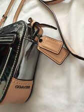 Coach Poppy Mirror Silver Pewter Metallic Leather Flight Crossbody Shoulder Bag