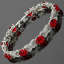 Charming! Xmas Red Ruby White Gold Gp Garnet Tennis Bracelet Jewelry