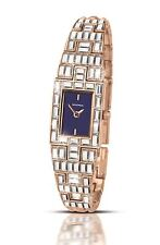 Sekonda Ladies Rose Gold Colour Blue Square Dial & Stone Set Bracelet Watch 2233