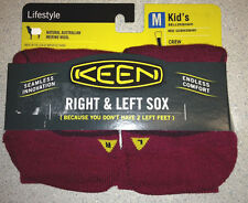 KEEN Kids Bellingham Socks MERINO WOOL New Beet Red MEDIUM $9.99 Made in USA