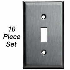 10 PK Stainless Steel Wall Plate Single 1-Gang Toggle Light Switch Outlet Cover