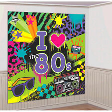 Totally 80s Scene Setter ~ I Love The 80s Disco Party Wall Decoration Kit Supply