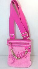"JUICY COUTURE Bubblegum Hot Pink Velour Embroidered ""Juicy"" Slim Crossbody Purse"