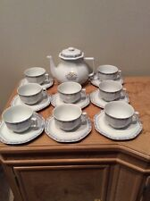 Haviland Limoges Blue Yellow Trim Tea Pot 18 Piece Set China Cup/Saucer France