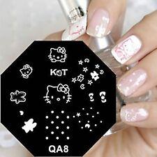 Nagel Schablone Nail Stamping Schablone Nailart Kitty Katzen Motive QA8 NEU