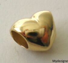 GENUINE  SOLID  9K  9ct  YELLOW  GOLD  CHARM  HEART  BEAD