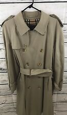BURBERRY LONDON Mens Classic Double Breasted Trench Coat Beige Size 44 Reg Nova