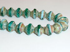 Pretty Green & Turquoise w/ Picasso Finish Saturn Czech Glass Beads  08X10MM