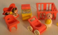 Vintage NURSERY Fisher Price Little People Baby, Furniture Pink Lot of 7