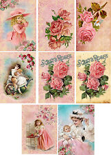 Vintage inspired Pink Roses ladies note cards tags ATC altered art set of 8