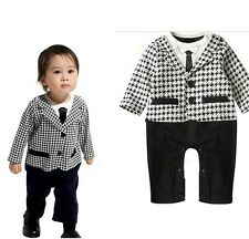 Baby Boy Formal Tuxedo One-Piece Romper Suit Long Sleeve 12-18 months SIZE 1