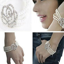 Hot Stylish Women 4 Layer Rose Flower Crystal Pearl Cuff Style Bangle Bracelet