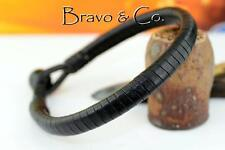 5B-095 Genuine Kangaroo Leather Black Onyx Gemstone Wristband Men Bracelet.