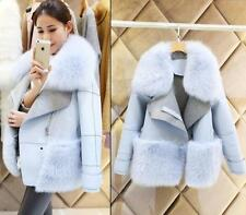 Fashion Womens Winter Faux Fox Fur Collar Jacket Long Coat Trench parka outwear