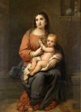 Beautiful oil painting female portrait Madonna Mary with child Christ canvas