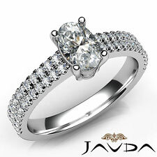 Oval Diamond Engagement GIA F Color VS1 18k White Gold U Cut Prong Set Ring 1Ct