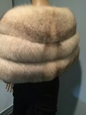 NORWEGIAN GENUINE FOX FUR GORGEOUS FULL LARGE OFF WHITE BEIGE THICK FUR