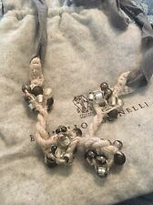 BRUNELLO CUCINELLI NECKLACE -Gray ROPE TIE BEADED CLUSTERS
