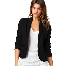 New Womens Crop Office Tops Slim Fit Peplum Blazer Jacket Coat Ladies Size 6-14