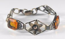 Vintage Art Deco Sterling Silver 1/20 12kt GF Floral Bracelet Orange Paste Stone
