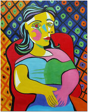 Sitting Woman - Hand Painted Pablo Picasso Cubism Oil Painting Art On Canvas