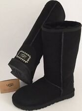 UGG CLASSIC TALL Suede Swarovski Embellished Boots New With Box $220 Size 7