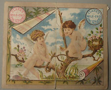 1881 VICTORIAN CALENDAR TRADE CARD CLARKS MILE END 24 SPOOL COTTON CHERUBS