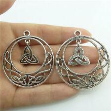 89400 4pcs Alloy Triskele Celtic Knot Triquetra Filigree Pendant Vintage Silver