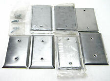 7 LEVITON P & S MULBERRY STEEL WALL PLATES RECEPTACLE OUTLET COVERS BLANK 1 GANG