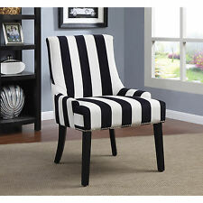 Coaster Company Black and White Striped Accent Chair