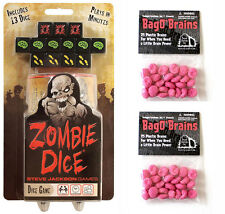 Zombie Dice Game w/ 2 Bag O' Brains Family Party 50 Plastic Brain Markers 131313