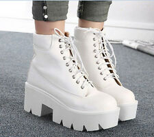 Women Punk Gothic Platform Chunky Lace Up Round Toe Ankle Boots Casual Shoes