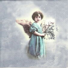 4x Single Table Party Paper Napkins for Decoupage Craft Vintage Angel in Blue