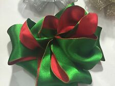 5 Metres Wire Edged Ribbon 2.5 in 6.3cm Double Sided Green & Red Bows Xmas