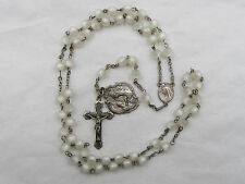 † VINTAGE BOTH STERLING SCAPULAR MEDAL & WHITE MOONGLOW LUCITE ROSARY NECKLACE †