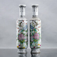Chinese Famille Rose Porcelain Hand Painted Bird & Flower Pattern Vase 1D296