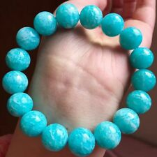 Natural Mozambique Ice Amazonite Stretch Clear Beads Bracelet 13-12mm