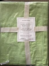 "$59.95 Williams Sonoma Linen Double Hemstitch Easter Table Runner 16""x108"" Green"