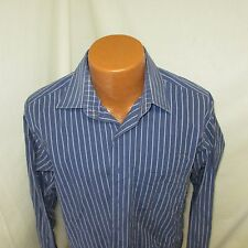 (16 34/35) Men's Calvin Klein Blue Striped Long Sleeve Shirt
