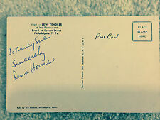 1956 Autographed  Nancy Love and Kisses Jimmy Durante on Sands Hotel Postcard 5