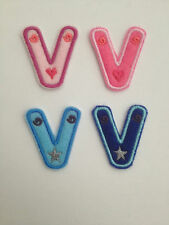 Embroidered Letters Pink and Blue Iron on or sew