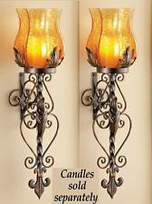 """Set Of 2 Glass Sconce Wall LED Candle Holders ea. 22""""H Iron Glass"""