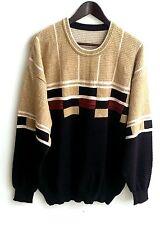 Herren Trachten Strick Pullover blau beige Gr. 54